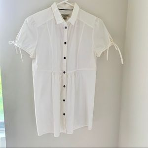 Burberry London White button down tunic Tie sleeve